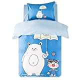 Cartoon Bedding Sets Bear Blue - Polyester Reactive Printing Festival Gifts Home Decoration Twin Flat Sheet