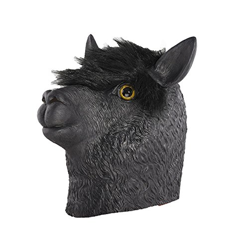 Party Story Alpaca Mask Latex Animal Mask Novelty Rubber Costume Full Head Masks Black
