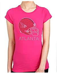 ATLANTA FALCONS HELMET HANDMADE Rhinestone/stud Womens T-Shirts