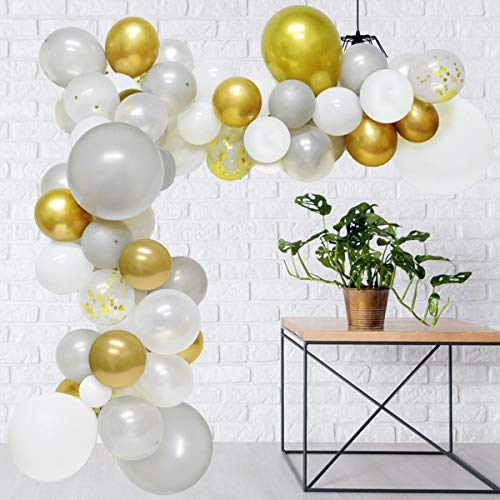 JOYMEMO Balloons Garland Arch Kit - 101 Balloons White Sliver and Gold Metallic Gold Confetti Balloons Air Pump Tape Strip for Wedding, Graduation, Anniversary, Birthday Party - Metallic Dots Pump