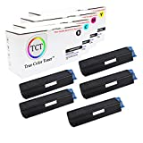 TCT Premium Compatible Toner Cartridge Replacement for Okidata C5100 C5100N C5150 C5150N C5200 C5250 C5300 C5400 Printers (Black 42127404, Cyan 42127403, Magenta 42127402, Yellow 42127401) - 5 Pack