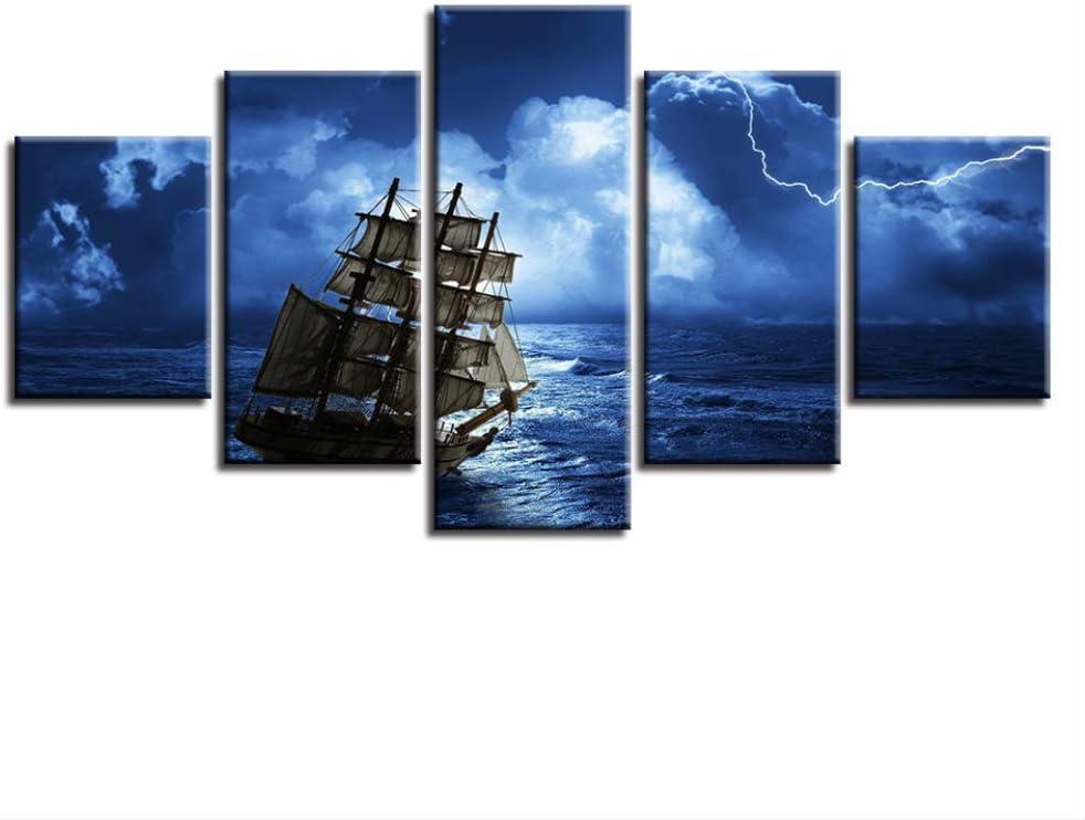 DGGDVP Decoración Dormitorio o Sala de Estar 5 Piezas Impresión en Alta definición Barco en el mar Navegación Escenas nocturnas Cuadros modulares de Lienzo Arte de Pared Tamaño 2 con Marco