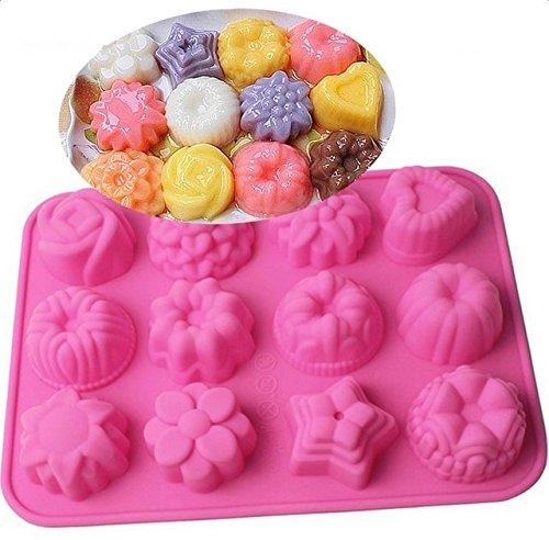 Hosaire Molde para hornear de silicona para pasteles, chocolate, jalea, pudín, moldes para postres, 12 hoyos con flores, forma de corazón: Amazon.es: Hogar
