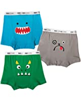 Zoocchini Funny Faced Monster Boys Boxer Set, Screenprinted