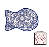Freckled Sage Reversible Oilcloth Cat Mat - Toile Blue/ Red Dot