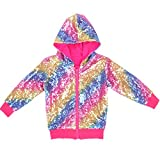 Cilucu Kids Jackets Girls Boys Sequin Zipper Coat Jacket for Toddler Birthday Christmas Clothes Hoodie Hot Pink Rainbow 3-4T