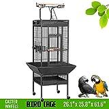 Yaheetech Wrought Iron Parrot Bird Cage Playtop Cockatiel Cockatoo Birdcages (61''(Black))