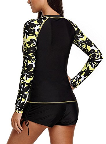 HOTAPEI Womens Long Sleeve Rash Guard Tops Swimwear Surfing Bathing Suit Rash Guard Swimsuit for Women Swim Shirt Black Printed...