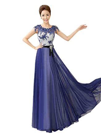 Felaladress Womens Gorgeous Long Blue Lace Size 6-30 Evening Prom Dress