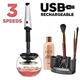 Luxe Makeup Brush Cleaner - with USB Charging Station, Instantly Wash and Dry Your Make up Brushes with 3 Adjustable Speeds Bonus 5oz Cleaning Solution Included