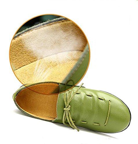 Antideslizante Green Green EU39 Mujeres Zapatos Tacón UK6 Mocasines Barco Estudiantes Del CN40 Zapatos SHANGXIAN 5 Piel Genuina 5 US8 Cómodo Bajo RadzIx