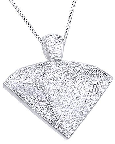 Round Cut Cubic Zirconia Diamond Shaped Hip Hop Pendant in 14k White Gold Over Sterling Silver (9.5 Cttw) by AFFY