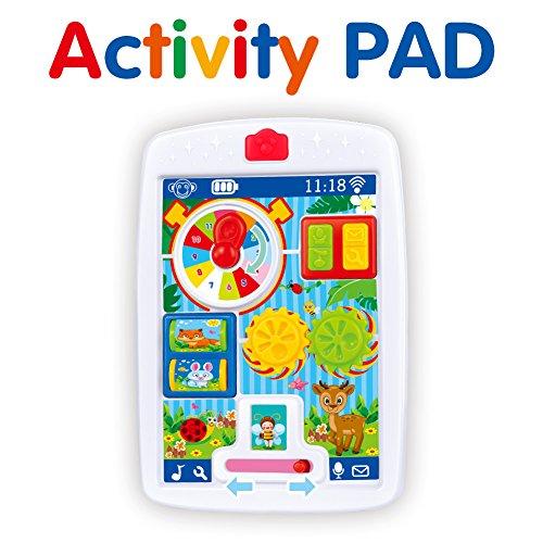 BFOELInfantsHappyActivityLearningTouchPadMultifunctionTableToysWithSparkleLights and SoundsMusical Toy,Animal Rotation,Education Toys(Red) Sparkle Activity