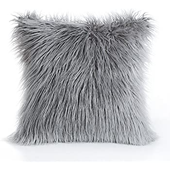 "Phantoscope Decorative New Luxury Series Merino Style Grey Fur Throw Pillow Case Cushion Cover 18"" x 18"" 45cm x 45cm"