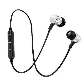 Homyl Auriculares Bluetooth con Cable USB diseño de Botón de Metal Elegante Accesorios Multiusos - Plata