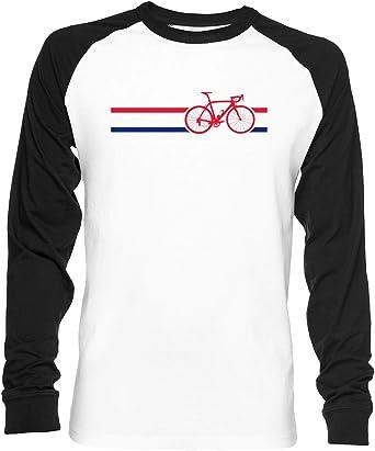 Bicicleta Rayas Británico Nacional La Carretera Carrera Unisex Camiseta De Béisbol Manga Larga Hombre Mujer Blanca Negra: Amazon.es: Ropa y accesorios