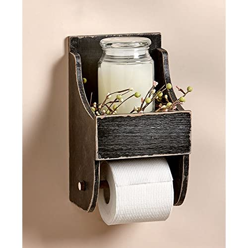 The Lakeside Collection Toilet Paper Holder with Shelf Black