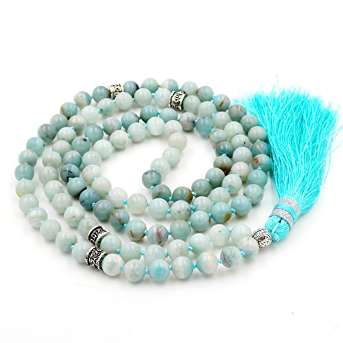 (Gemstone Mala Beads Necklace, Mala Bracelet, Buddha necklace, Hand Knotted Mala)