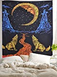 Crying Wolf of The Moon Tapestry,wall hanging ,Bohemian ,Ethnic Wall ...