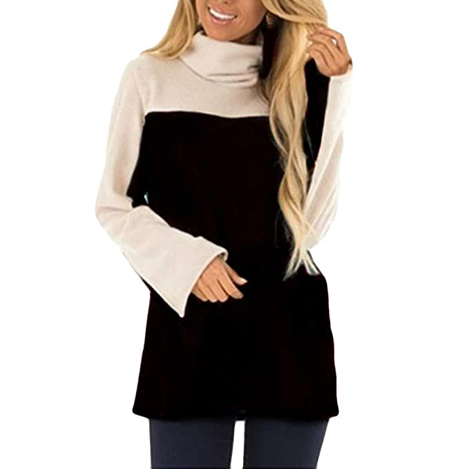 Ladies Casual Jumper Blouse Toamen Turtleneck Long Sleeve Stitching Zipper up Pocket Sweatshirt Womens Pullover Tops