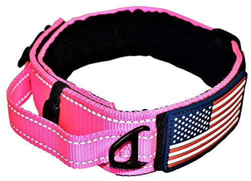 DOG COLLAR WITH CONTROL HANDLE QUICK RELEASE METAL BUCKLE HEAVY DUTY MILITARY STYLE 2 WIDTH NYLON WITH USA FLAG GREAT FOR HANDLING AND TRAINING LARGE CANINE MALE OR FEMALE K9 (PINK NEW BUCKLE)