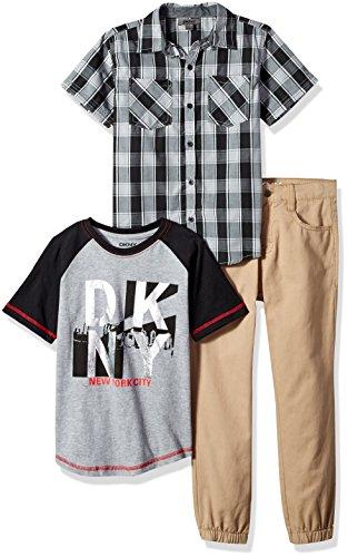DKNY Boys Short Sleeve Shirt, T-Shirt and Pant Set (More Styles)