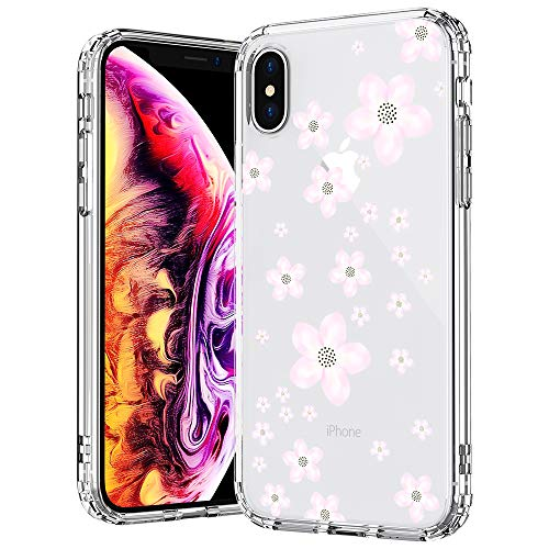 (MOSNOVO Case for iPhone Xs/iPhone X, Pink Floral Flower Blossom Pattern Printed Clear Design Transparent Hard Back Case with Soft TPU Bumper Protective Case Cover for iPhone X/iPhone Xs)