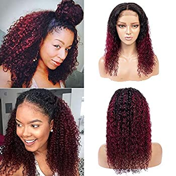Image of Ombre 4x4 Lace Front Wigs for Black Women, Burgundy Brazilian Remy Human Hair Wigs with Baby Hair, 180% Density Ombre Kinky Curly 44 Lace Wigs (22' 1B/99J) Health and Household