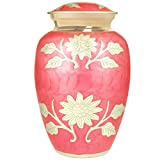 Funeral Urn by Meilinxu - Cremation Urns for Human Ashes Adult and Memorial Urns - Hand Made in Brass & Hand-Engraved - Burial Urns At Home or in Niche at Columbarium (Bram Rose Pink Red, Large Urn)