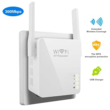 Wifi Extender, 4U Repeater Booster Supports AP Mode and Client Mode with  USB Charging Port Wifi Range Extender( 802 11N 300Mbps, WPS)