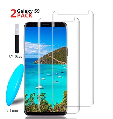 Galaxy S9 Screen Protector,Candywe Galaxy S9 Tempered Glass,3D Curved[Liquid Dispersion Tech][Case Friendly][Anti-Bubble] Glass Screen Protector for Samsung Galaxy S9 (2 Pack)