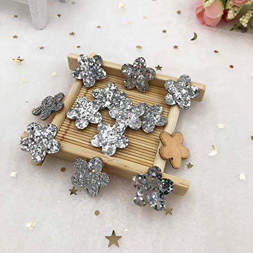 - MOPOLIS New 60pcs 20mm Felt Fabric Glitter Paillette flower Applique wedding DIY Patches | Color - Silver