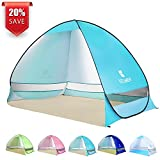 BATTOP Pop Up Beach Tent Camping Sun Shelter Outdoor Automatic Cabana 2-3 Person Fishing Anti UV Beach Tent Beach Shelter, Sets up in Seconds (LightBlue)