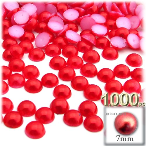 Dome Beads (1,000pc Pearl finish Half Dome Beads, Round, 7mm, Tulip Red)
