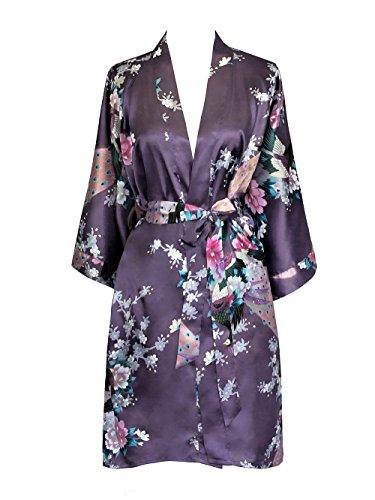 Old Shanghai Women's Kimono Short Robe - Peacock & Blossoms, Dusk (On-seam Pocket), One Size.