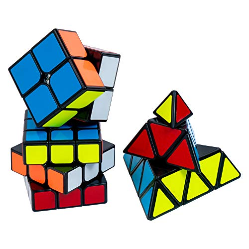 Speed Cube Set of 3-2x2, 3x3, Pyramid Puzzle Cubes | Adjustable Tension for Quick Turn and Smooth Play | Vivid Magic Cube | Fidget Puzzle Cubes Classic IQ Games Toys for Kids, Adults