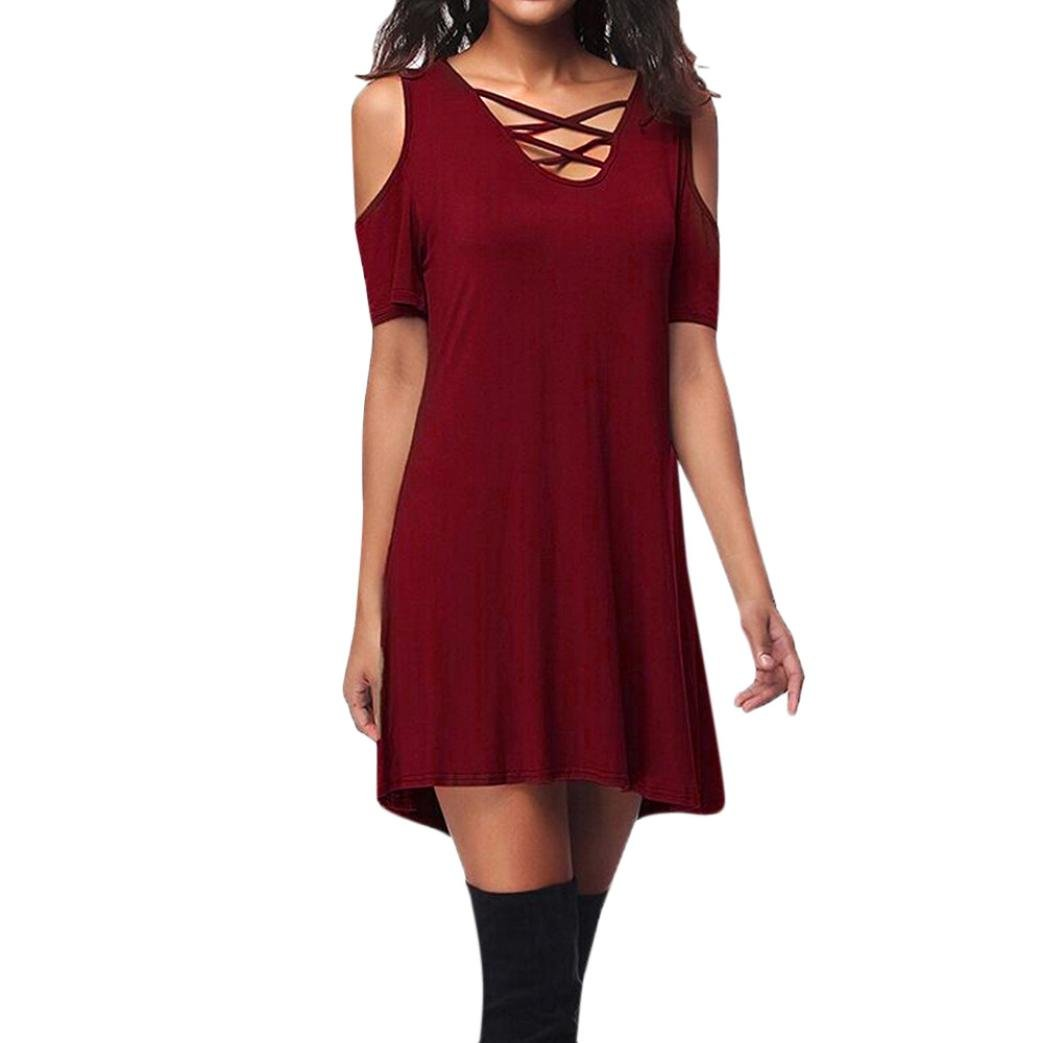 Fashion Dress,Han Shi Women Cold Shoulder Criss Cross T-Shirt Dress With Pocket (M, Red)