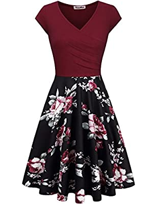 KASCLINO Women's Floral Printed Dress, A Line Cap Sleeve V-Neck Elegant Dress With Pockets