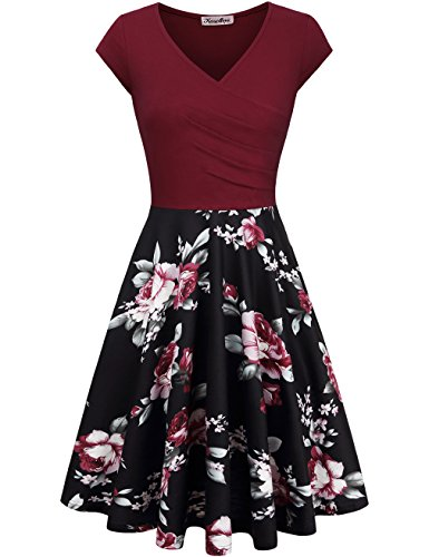 Skirt Prom Party Dress - KASCLINO Party Dresses For Women, Women's V-Neck Floral Print Swing Dress Wine Red XXL