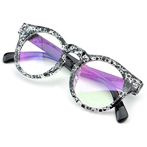 PenSee Vintage Inspired Round Horned Sunglasses Key Hole Nose Eyeglasses Frame - Key Eye Hole