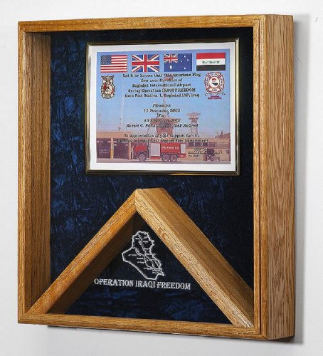 Military Flag And Certificate Display Case Shadow Box