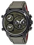 DETOMASO CASABONA Men's Watch XXL Multifunction Watch Analog Quartz Green Leather Strap Green Dial DT2018-G