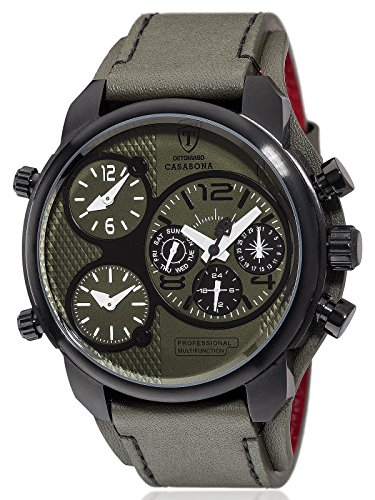 DETOMASO Casabona XXL Multifunctional Men's Wrist Watch with 3 time zones Stainless Steel Casing Leather Strap (Green / Black)