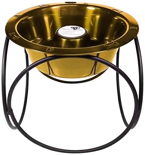 Platinum Pets Slow Eating Single Olympic Diner Feeder with Stainless Steel Dog Bowl, 24 Karat Gold ()