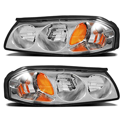 Partsam Headlight Assembly Compatible with Chevrolet Impala 2000 2001 2002 2003 2004 2005 Front Side Headlamps Replacement Chrome Housing with Amber Reflector Left + Right (Driver and Passenger Side)