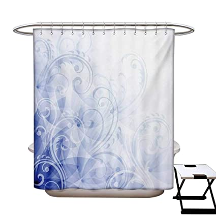 Pale Blue Shower Curtains Sets Bathroom Abstract Curled Leaves Artistic Natural Flower Arrangement Satin Fabric
