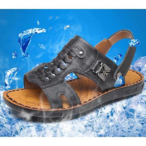 Fondo Zapatos de Casual Aire Hombres playa Antideslizante black libre Sandalias abierta Sandalias Transpirable suave Punta SSYY Cuero PqwSH6O
