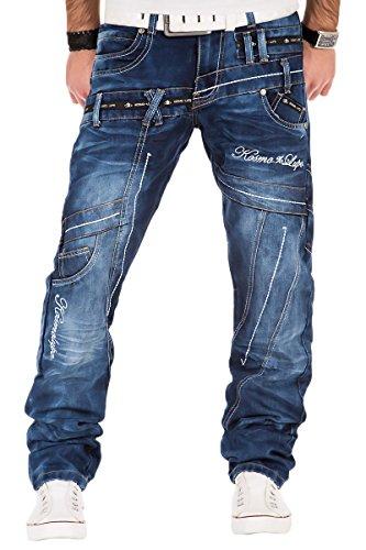 Kosmo Lupo Herren Jeans Denim Hose Japan Style Vintage Clubwear Chino Used Blau Dunkelblau