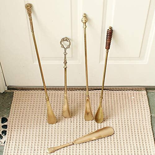 軽量 メンズ・レディース・キッズ用ブラスシューホーン家庭用延長靴リフターレトロな銅の靴ヘルパーギフト 耐用 (Color : Brass, Size : 46cm)