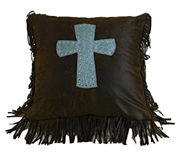 HiEnd Accents Cheyenne Western Accent Pillow, Turquoise Cross